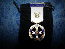 VINTAGE ENAMELLED STEWARD MEDAL SILVER GILT MASONIC INSTITUTION GIRLS 1937
